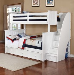 Resort Life Cameron Twin Over Full Bunk Bed With Stairs In White Summerlin Collection