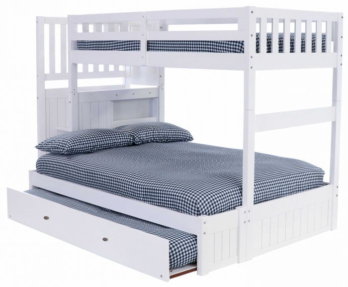 Discovery World Furniture White Staircase Mission Bunk Bed Twin Over Full With Brushed Nickel Handles