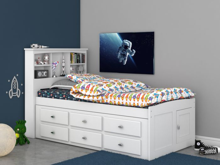 Discovery World Furniture Twin Bookcase, White Twin Storage Bed Drawers