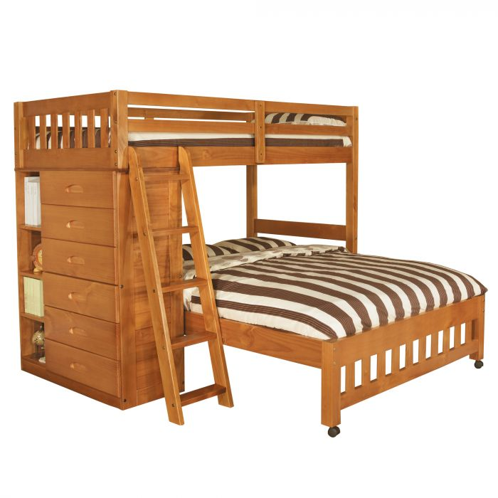 Discovery World Furniture Honey Twin Over Full Loft Bed