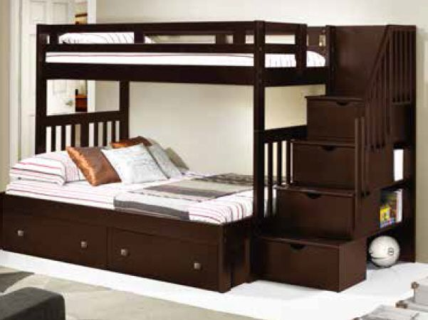 Donco Kids Twin Over Full Mission Tall Storage Stairway Bunk Bed In Cappuccino Hugo