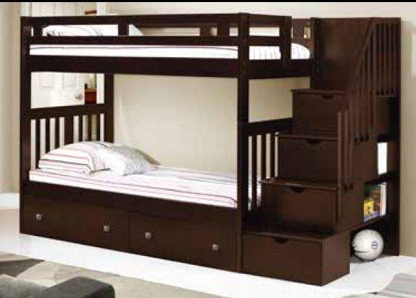 Donco Kids Twin Over Twin Mission Tall Storage Stairway Bunk Bed In Cappuccino Hugo