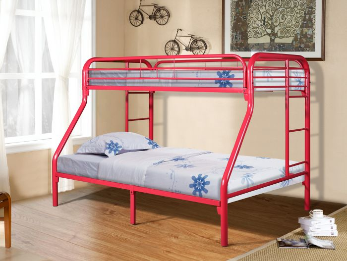 Donco Twin Over Full Metal Bunk Bed In Red