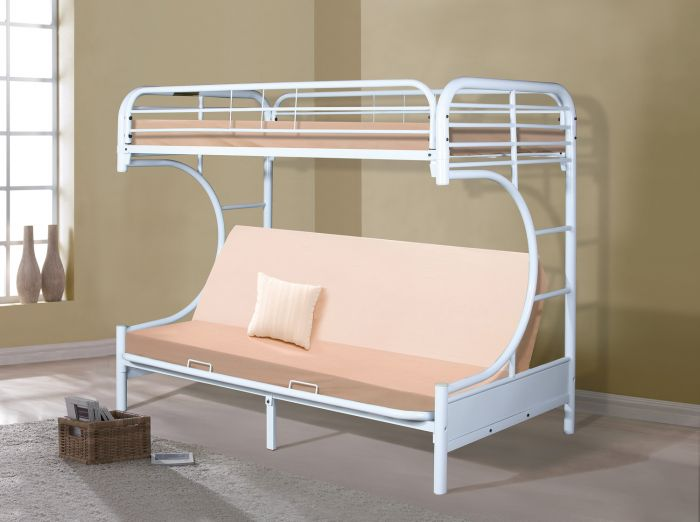 Donco C Shaped Twin Over Full Futon Bunk In White