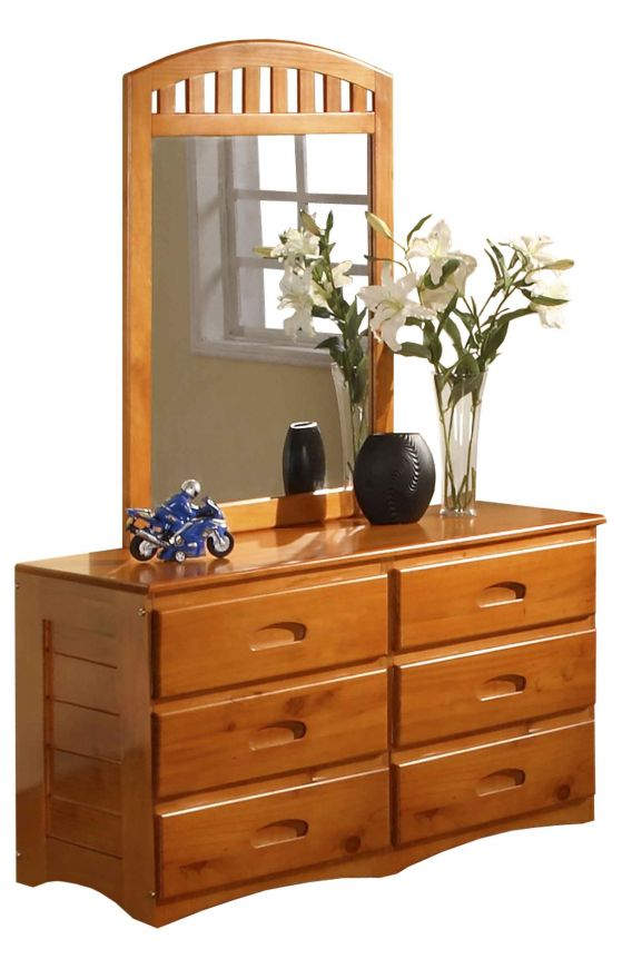Honey 6 Drawer Double Dresser