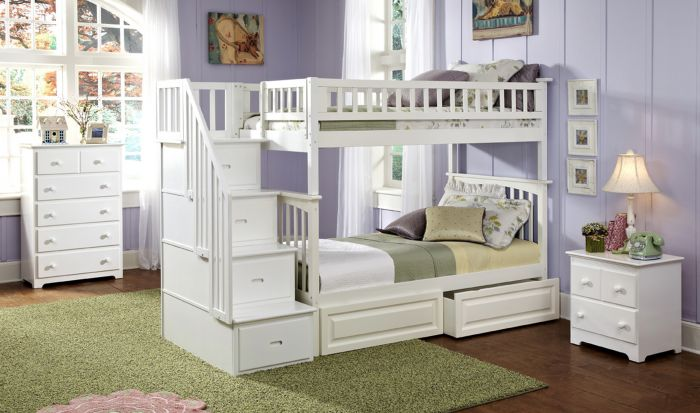 Atlantic Furniture Columbia Staircase Bunk Bed Twin Over Twin With 2 Raised Panel Bed Drawers In