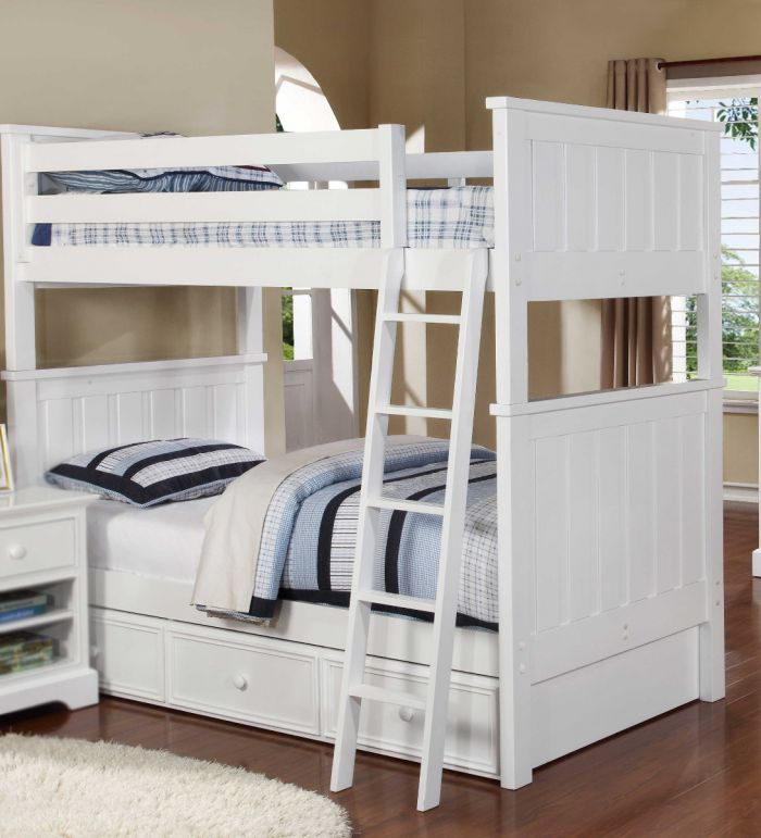 Resort Life Cameron Twin Over Twin Bunk Bed In White Summerlin Collection
