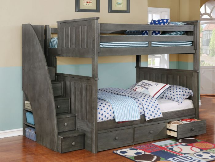 Resort Life Cameron Full Over Full Bunk Bed With Stairs In Washed Grey Waterford Collection