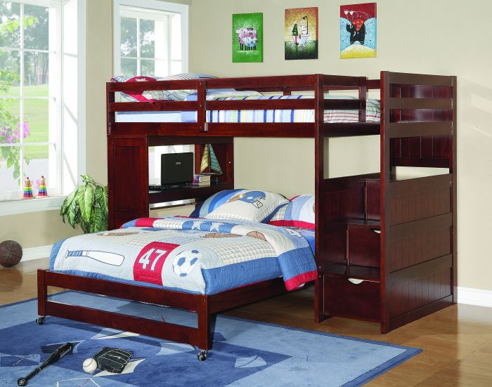 Donco Kids Modular Loft Twin Over Full With Stairs And Desk In Cappuccino Configuration 8