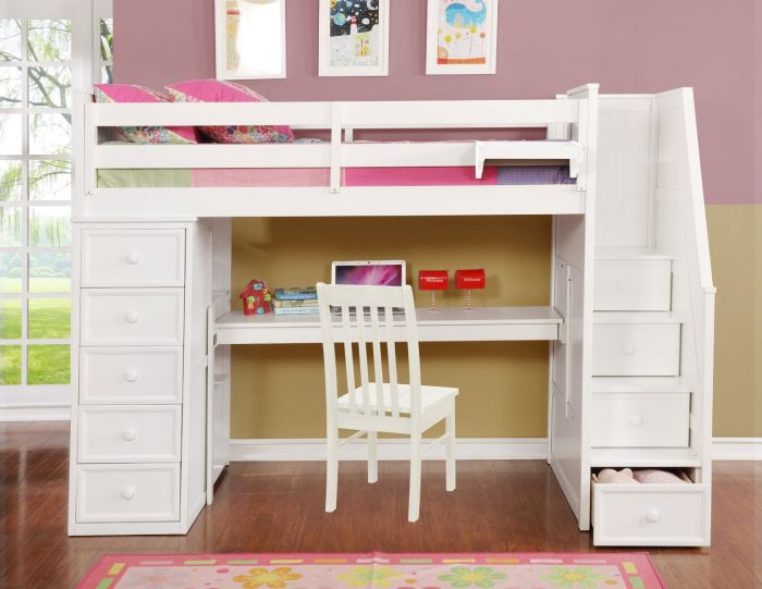 Resort Life Twin Size Loft Bed With Desk In Washed White Summerlin Collection