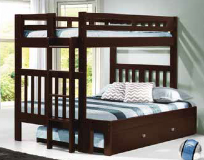 Donco Cappuccino Twin Over Full Mission Bunk Bed With End Ladder Hugo Irving